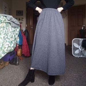 Grey Knit L.L. Bean Maxi Skirt